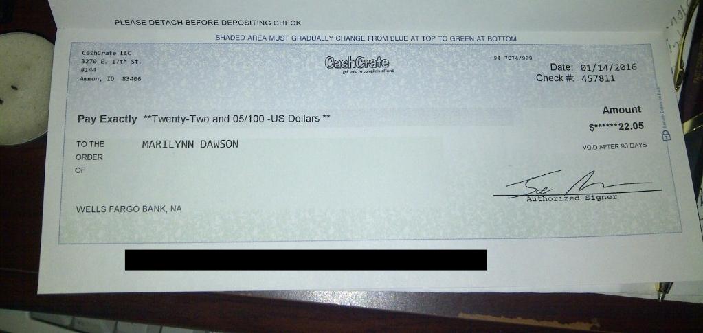 Songdove Books - First CashCrate Cheque